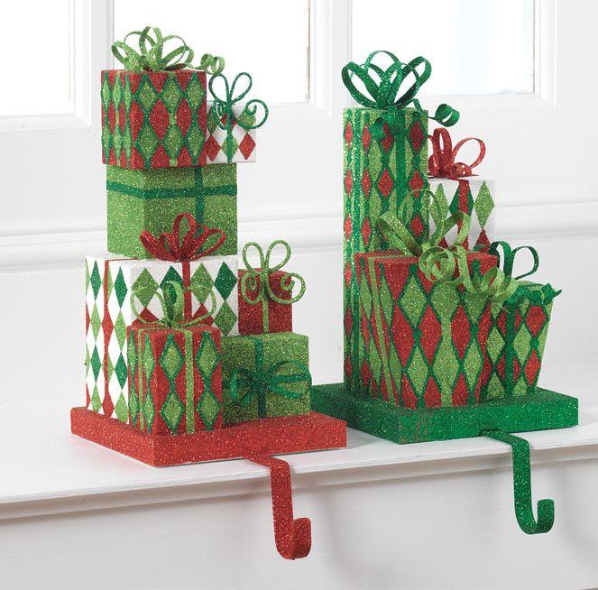 Raz glittered present christmas stocking holder set of