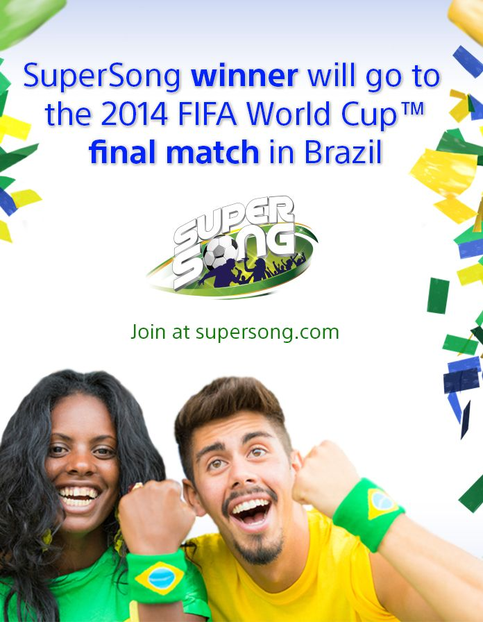 Did you know that the SuperSong winner will travel to Brazil for the final match of 2014 FIFA World Cup™?!  Write a song about the next World Cup and join the Global Music Contest: SuperSong! http://supersong.com/