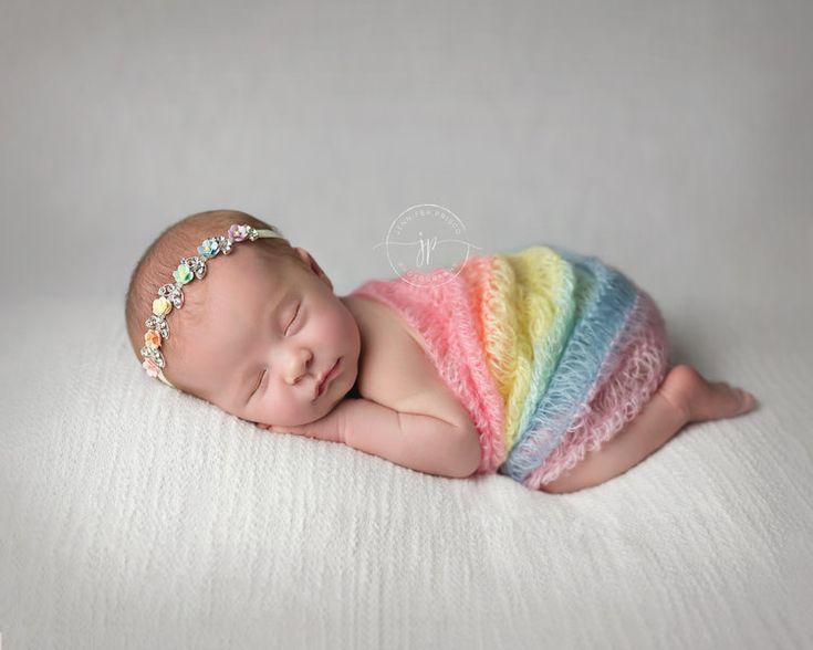 Rainbow baby newborn photography rainbow baby wrap baby girl photo