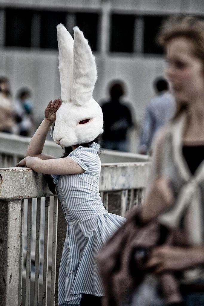 Routine Day by ken.yarn — (via http://sam-osaur.tumblr.com/post/24970444341) — #portraits #rabbits #bunnies #masks #surreal