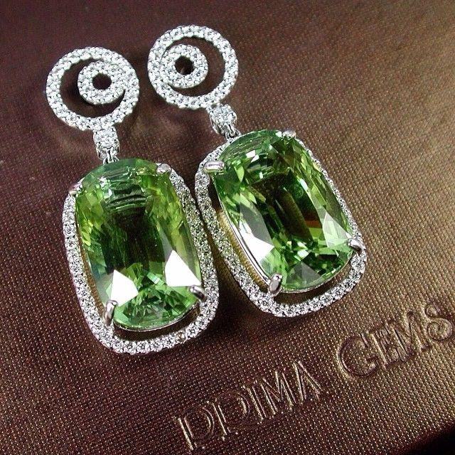 The bright green of Green tourmaline. Prima Gems.