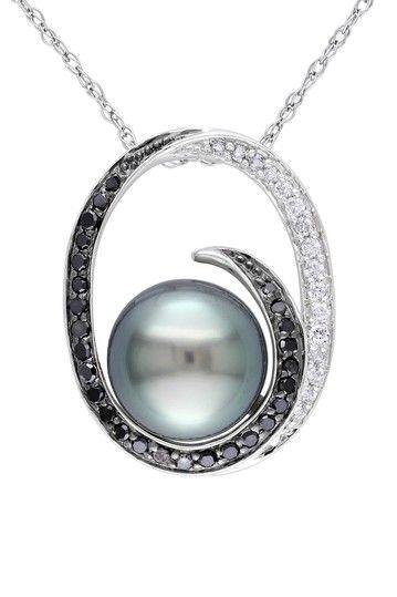 10K White Gold 9-9.5mm Black Tahitian Pearl & Black & White Diamond Pendant Necklace