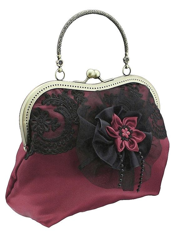 burgundy and black purse formal vintage style by FashionForWomen