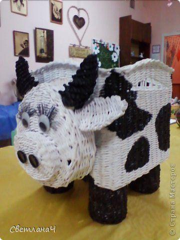 Поделка изделие Плетение Корова - Бурёнка Бумага газетная фото 2