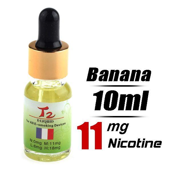 Quit Smoking T2 10ml Flavor strength Medium 11mg/g Electronic Cigarette Liquid (Banana) - Harmless top quality nicotine free e-cigarettes sh...