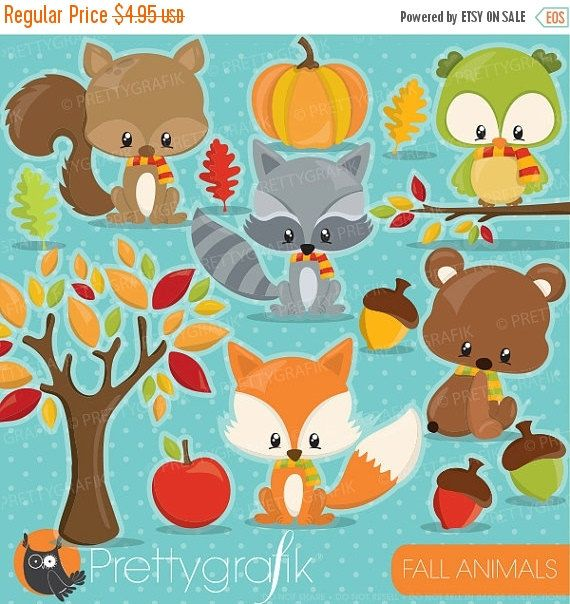 80% OFF SALE Fall animals clipart commercial use, fall clipart season vector graphics, digital clip art, woodland digital images - CL907