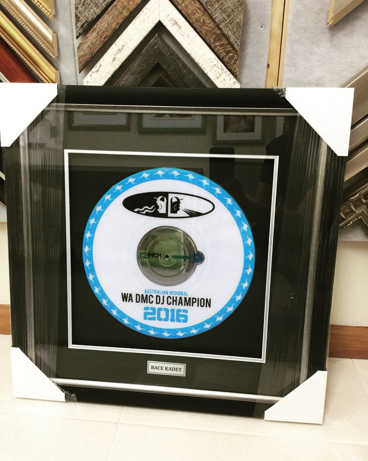 A different type of award. A vinyl record 3D with a striking black matt and silver trim.  www.pictureframingperth.net.au