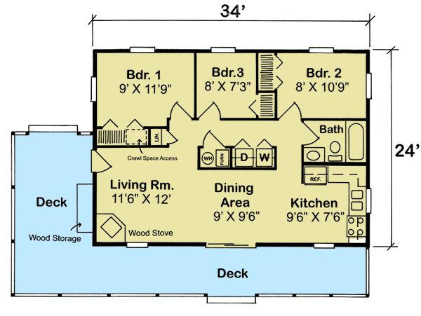 Plan 11390G: 3 Bedroom Vacation Cottage in 2019 | plans | Cabin
