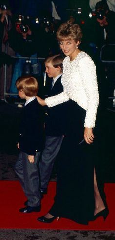 7th April, 1992, Diana Princess of Wales  and Princes William+Harry
