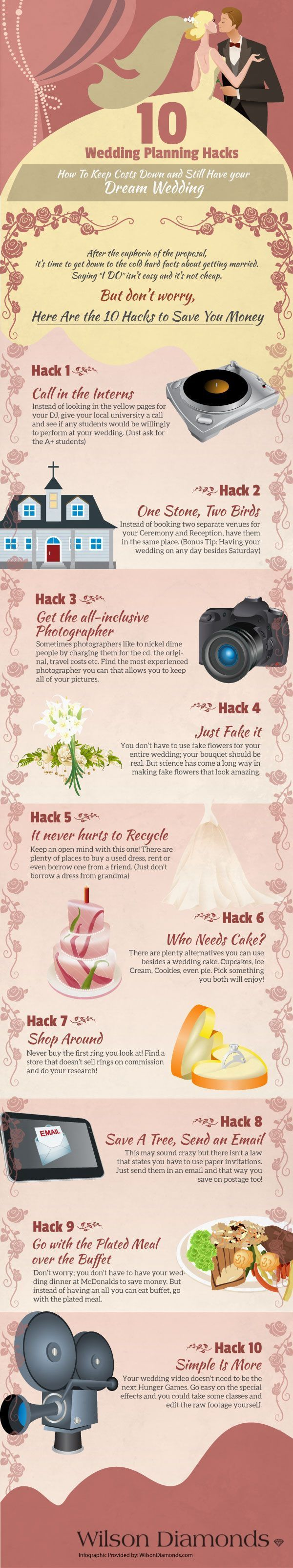 10 Wedding Planning Hacks. This is actually a really good list with some different ideas