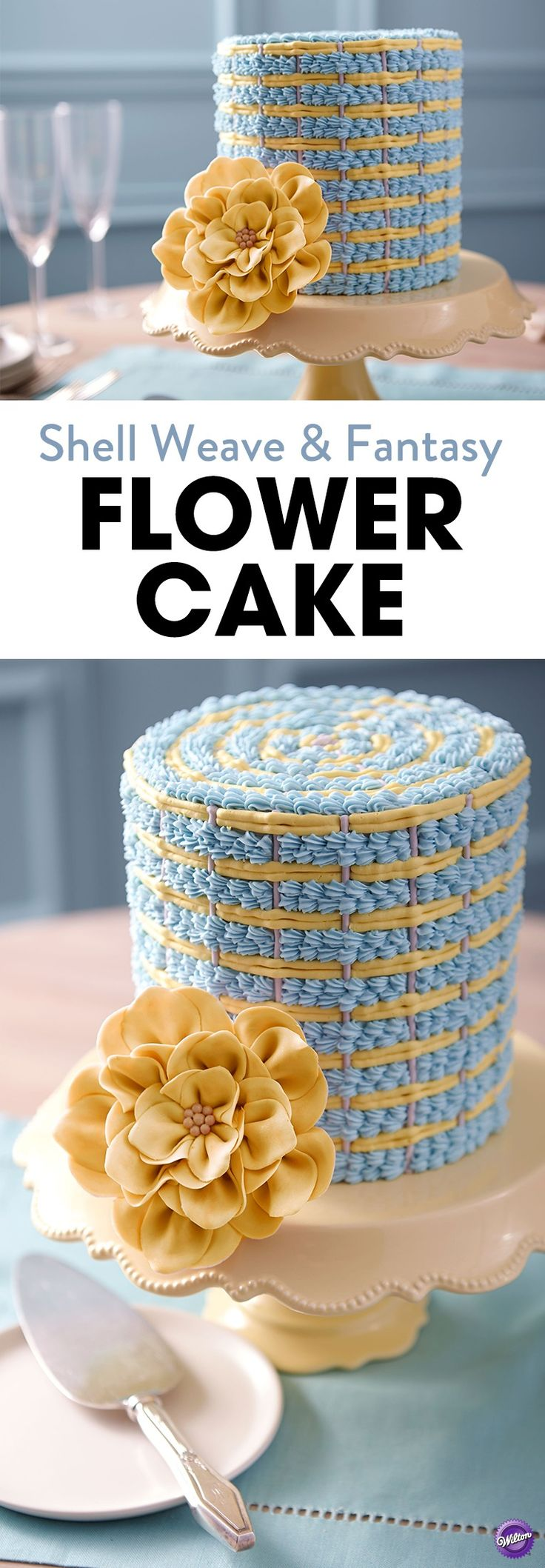Impress mom on Mother's Day with this Shell Weave and Fantasy Flower Cake! This cake features icy blue shells threading their way through bands of yellow and gray. A lush fantasy flower provides a beautiful finishing touch.