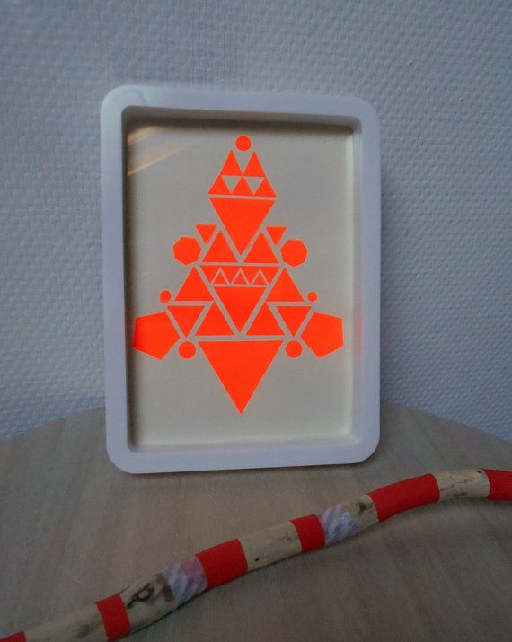 Original serigraph Ethnic orange fluo, in surroundings white vintage, 13.5* 18.5 cm.  My original design is silk-screened on paper professional 280gr.  Perfect to brighten up your interior decoration or a childs room...  The colors you see on your screen may vary your screen calibration on the original.