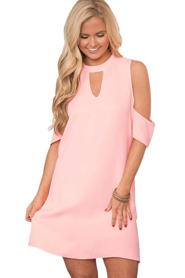 Robe Courte Ete Femme Chic Rose Manches Courtes Artful Epaule Froide Pas Cher www.modebuy.com @Modebuy #Modebuy #Rose