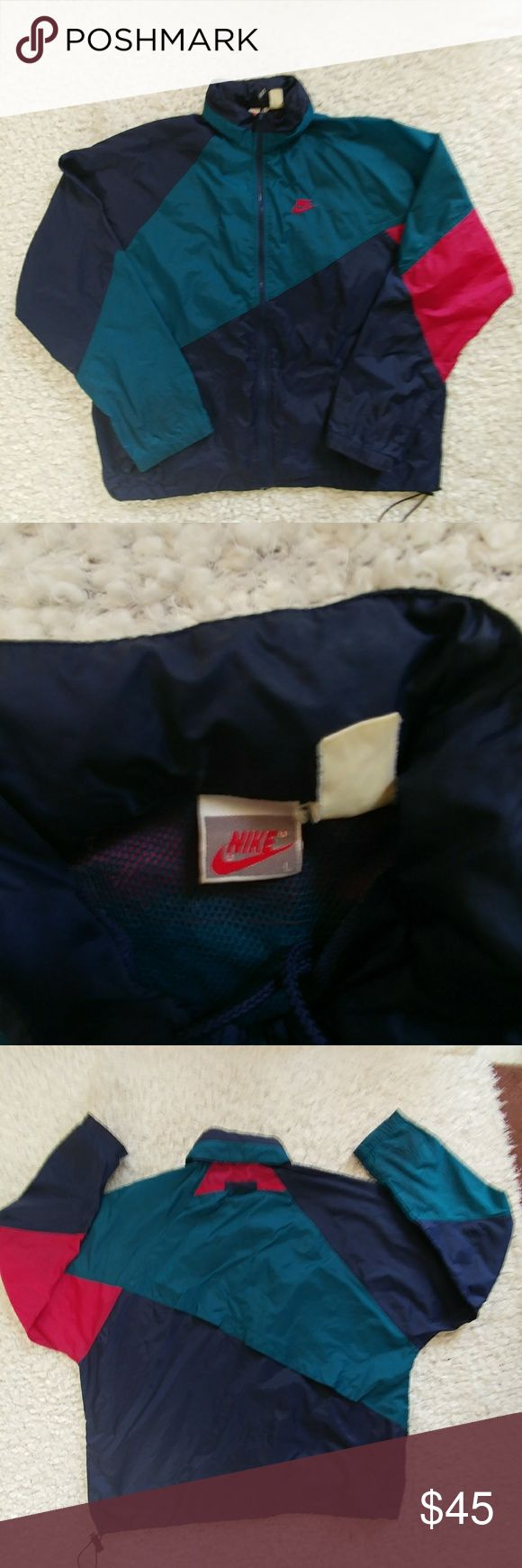 Vintage Nike windbreaker mens large Convertible hood w/ drawstring, full zip, 25.5 pit to pit.24 inches in length. Elastic drawstring hem. Half vented liner in back portion. 26.5 inch sleeve. Good cond. Smoke free home. If you have any questions, please feel free to ask red is deep crimson color. Nike Jackets & Coats Windbreakers