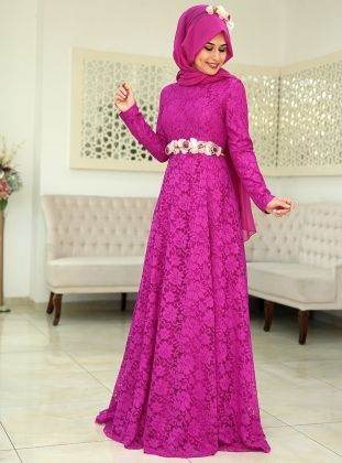 Menekse Evening Dress - Fuchsia - SomFashion