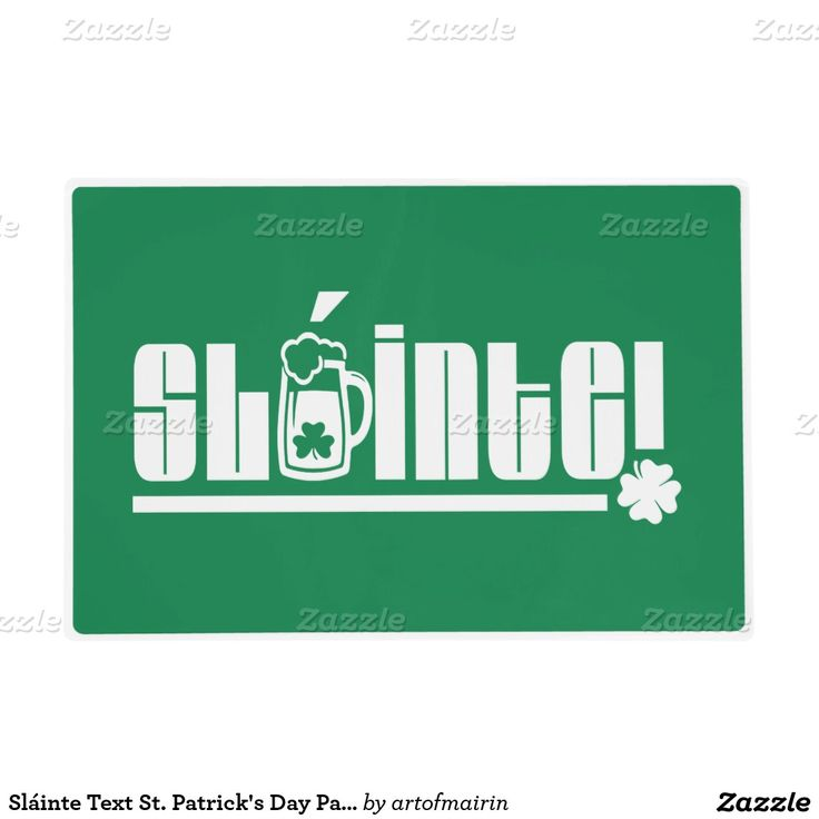 Sláinte Text Design Placemats for St. Patrick's Day Party / Any Irish Event Celebration . Sláinte is the most used Irish expression in America and means Good Health! or Cheers !, used as a drinking toast to wish somebody good health. Messing with drunk people never gets old, so this Irish salutation is just perfect for St. Patrick's Day or any Iirish Event Celebration. Matching cards and other products available in the Holidays / St.Patrick's Day Category of the artofmairin store at…
