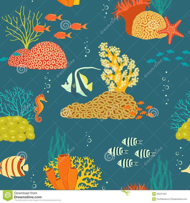 Vida subaquática.  Ilustração: Fireflamenco.