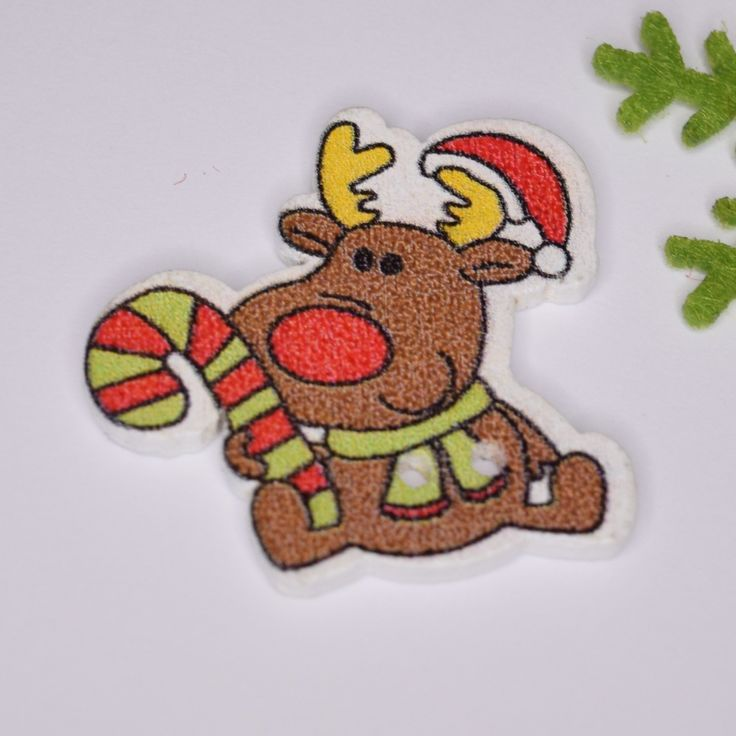 Vánoční knofík sobík sob jelínek Rudolf 28 x 25 mm