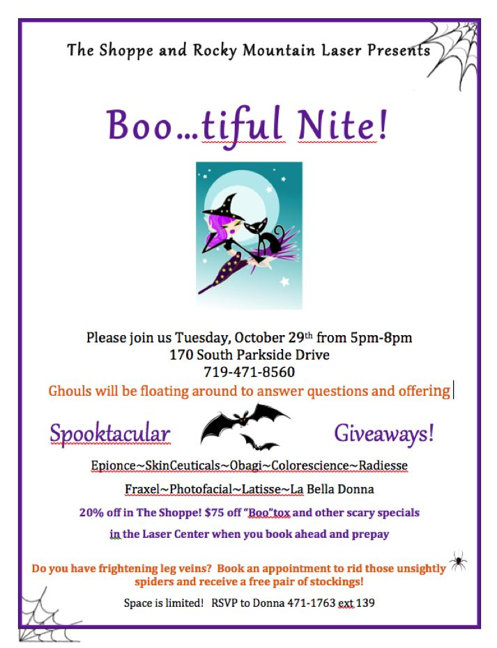 Boo Tiful Nite Oct 29th Is Our Biggest Event Of The Season Product Giveaways Gift Bags Discounts On Botox Spider Vein Treatment Spa Specials Beauty Event