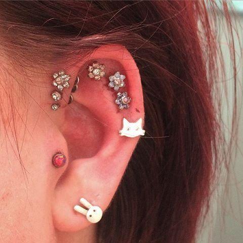 Opal Tragus Earring Piercing Jewelry at MyBodiArt