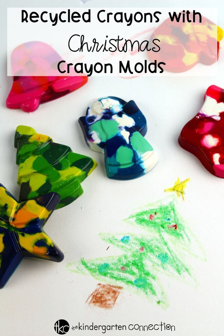 Try this Recycled Crayons with Christmas Crayon Molds activity with your children and create beautiful Christmas coloring pages this holiday season! #kidschristmas #christmascrafts #kindergarten #teachersfollowteachers
