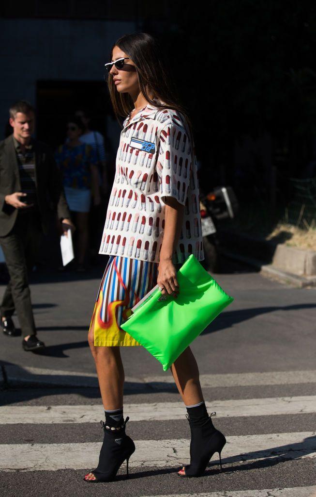 3a144fed7f Gilda Ambrosio wears prada during Milan Men s Fashion Week...