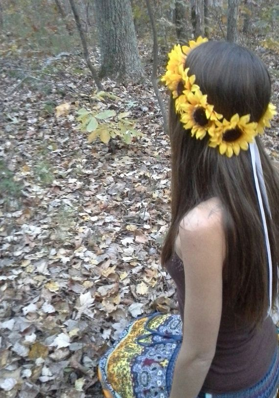 Sunflower Crown Big Sunflower Headband Yellow by dieselboutique