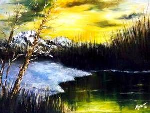 kar manzarası yağlıboya tablo