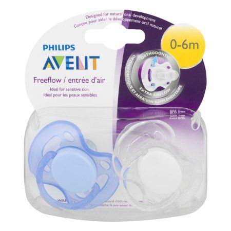 Philips Avent Orthodontic Freeflow Pacifier, 0-6 Months, 2-Pack, BPA-Free, Blue