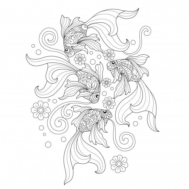Hand Drawn Illustration Of Goldfish In Zentangle Style Goldfish Art Line Art Vector Coloring Pages