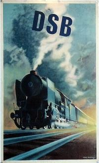 DSB - Danish State Railways poster by Aage Rasmussen 1950.