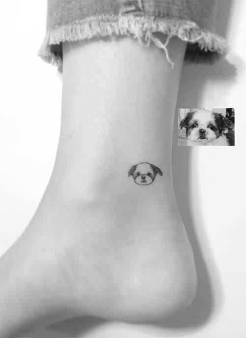 Ankle Tattoos Ideas for Women: Puppy Face Ankle Tattoo