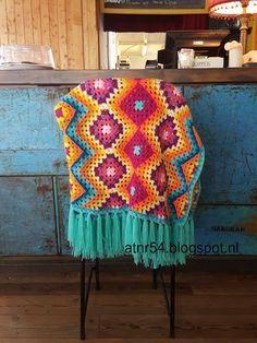 #haken, gratis patroon, Nederlands, granny square, granny stripe, beschrijving Mexicaanse deken, sprei, #haakpatroon