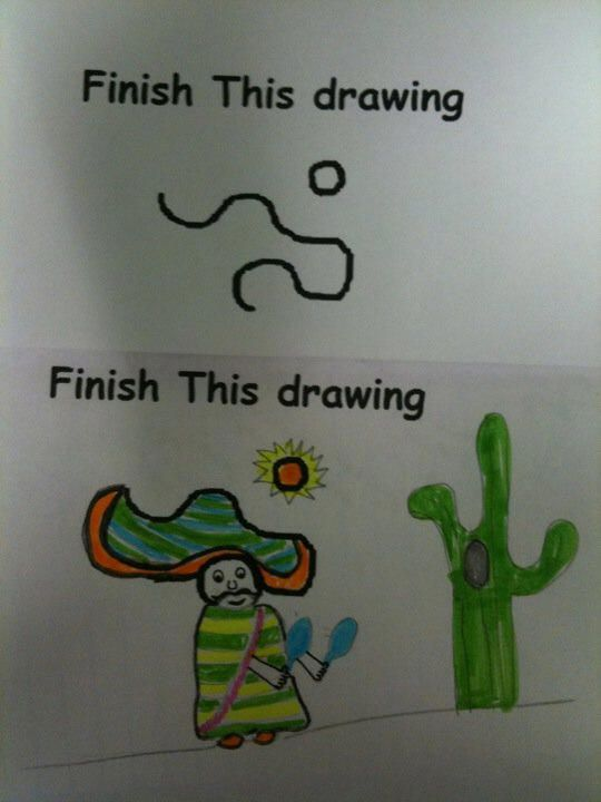 Start with one or two undefined lines or shapes and let the kids finish the drawing.