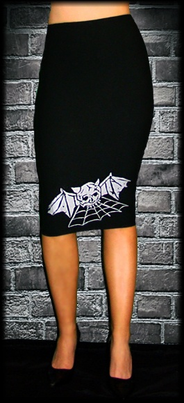 bats & cobwebs pencil skirt | clothes minded | Pinterest