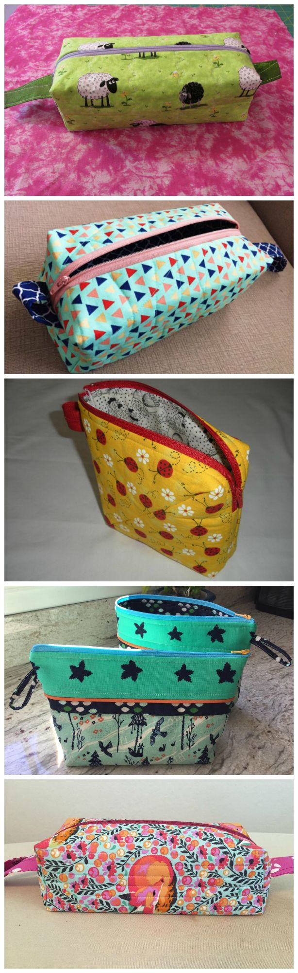 Fab zipper bags to sew.  All these are student examples from the Zip It Up Craftsy class.  Easy to sew zipper bags and techniques.