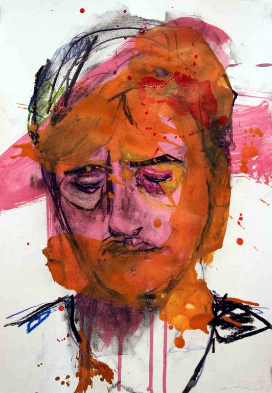 "Saatchi Online Artist: Lou ROS; Mixed Media, 2012, Painting ""Autoportrait 16"""