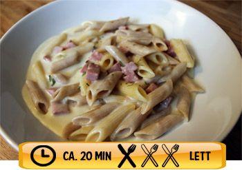 Pasta og skinke i hvit saus, 9 kr per porsjon! Ville brukt frosne erter i tillegg.