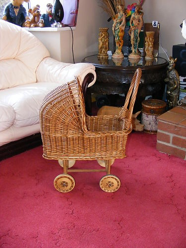 Wicker babydoll buggy