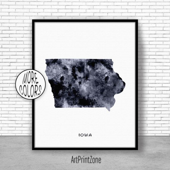 Iowa Art Print Iowa Decor Iowa Print Iowa Map Art Print Map Artwork Map Print Map Poster Watercolor Map ArtPrintZone #MapPrint #ArtPrintZone #WatercolorWallArt #WatercolorMap #MapArtwork