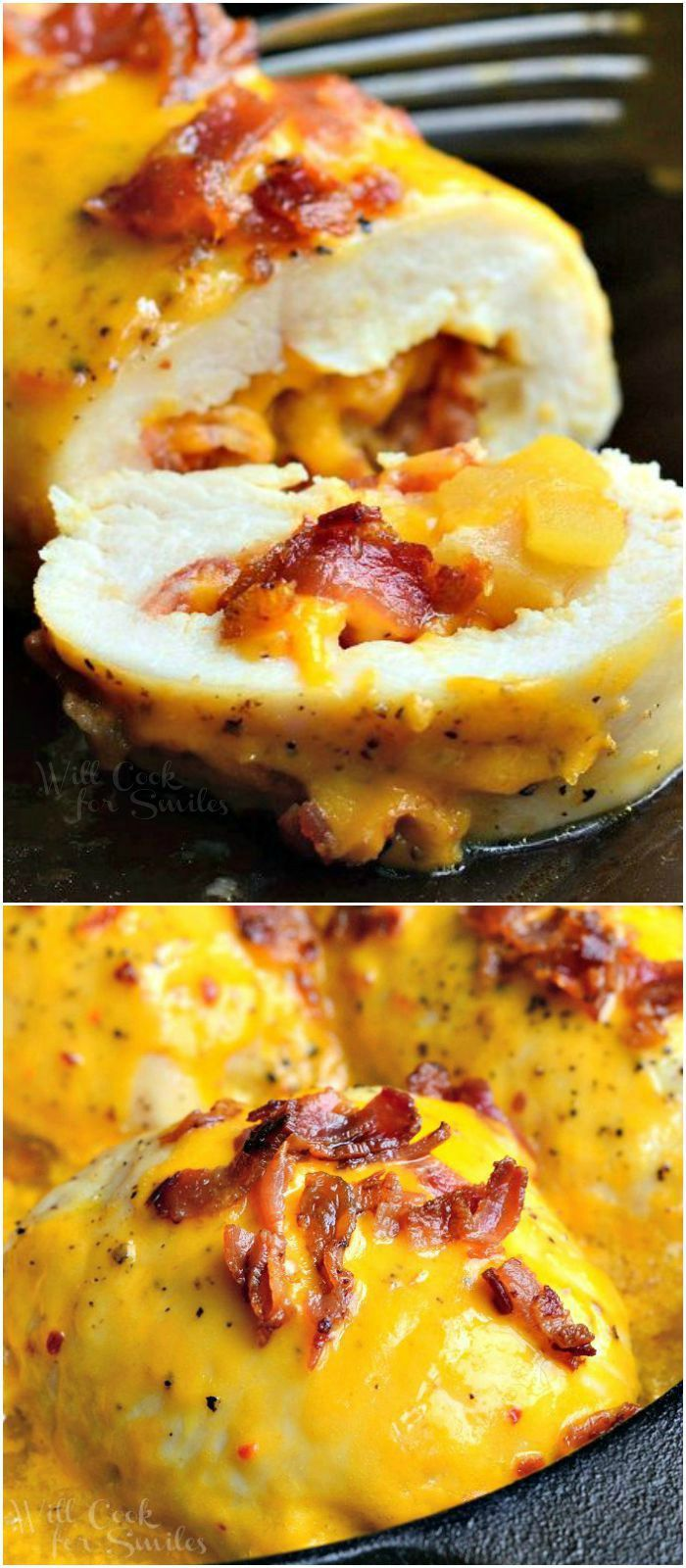 Apple Bacon Cheddar Stuffed Chicken. Easy chicken dinner and absolutely delicious!