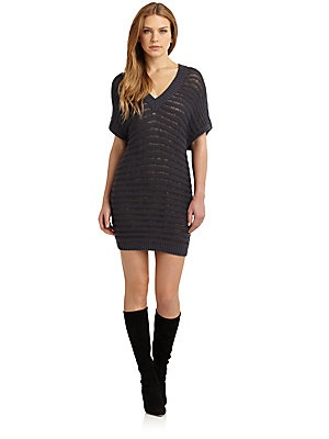 Cacharel Striped Popcorn Knit Sweaterdress I Love This