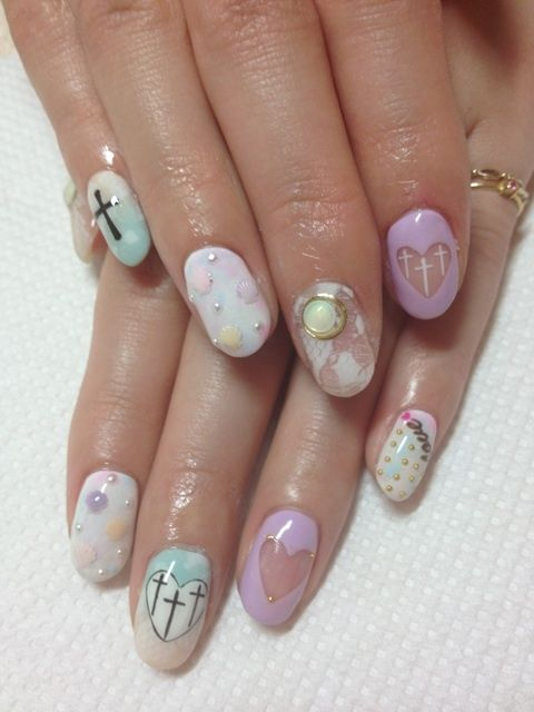 pastel gel nail art design hearts shells lace studded