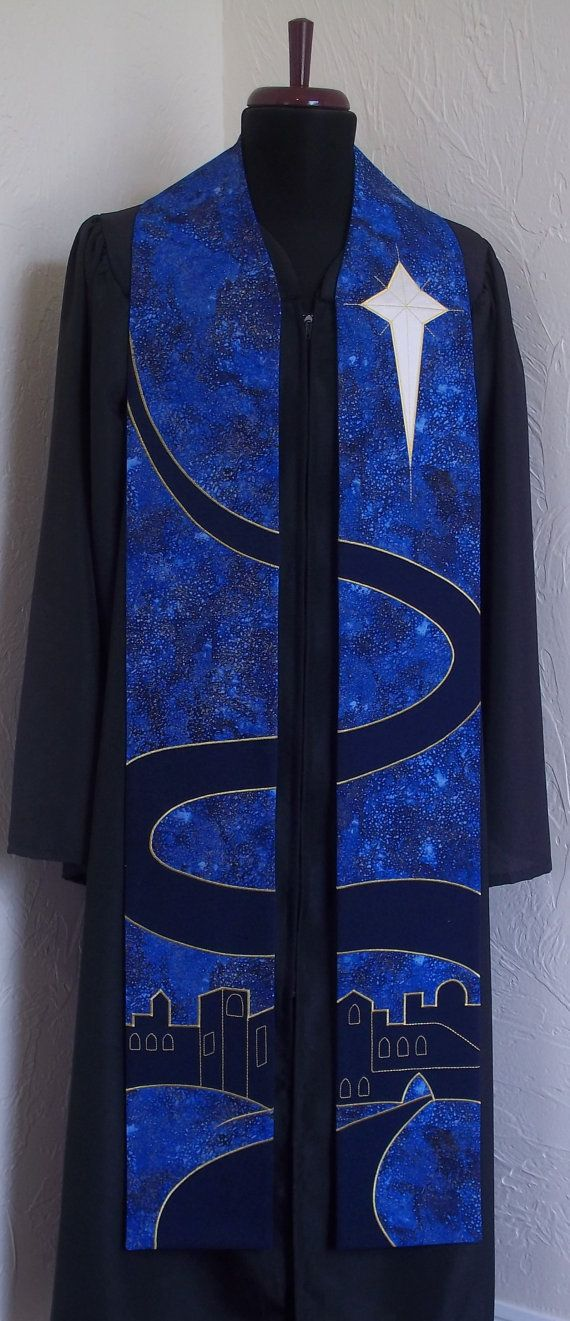 I love the road on this one.  Blue Clergy Stole for Advent Season--Order now for delvery by 2nd Sunday in Advent--Made to Order in Your Custom Length. $340.00, via Etsy.