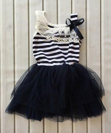This Navy & White Tutu Dress - Infant, Toddler & Girls is perfect! #zulilyfinds