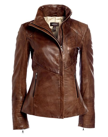 """Great leather jacket via Danier.com, Style #104030536 - $299. """"We love this new spin on the bomber jacket, its rich colours will start you off with a fresh look for the fall season. It is cut in soft leather then hand burnished for an authentic look and feel. A funnel collar, quilted topstitch details and wire collar edge all contribute to its modern look."""""""