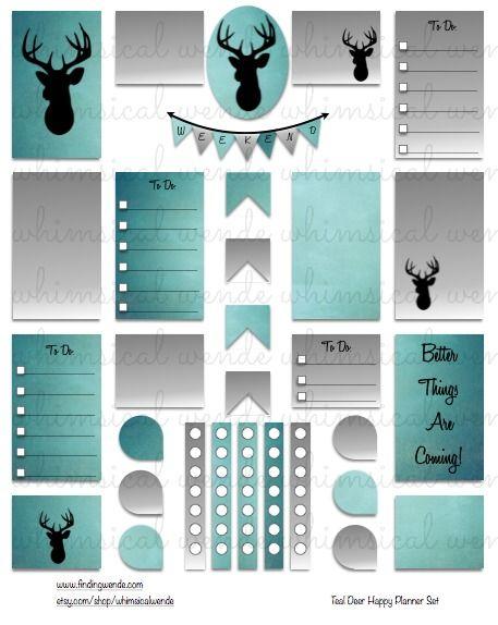 Happy Planner Printable Planner Stickers Kit Teal Deer Ombre Instant Digital…