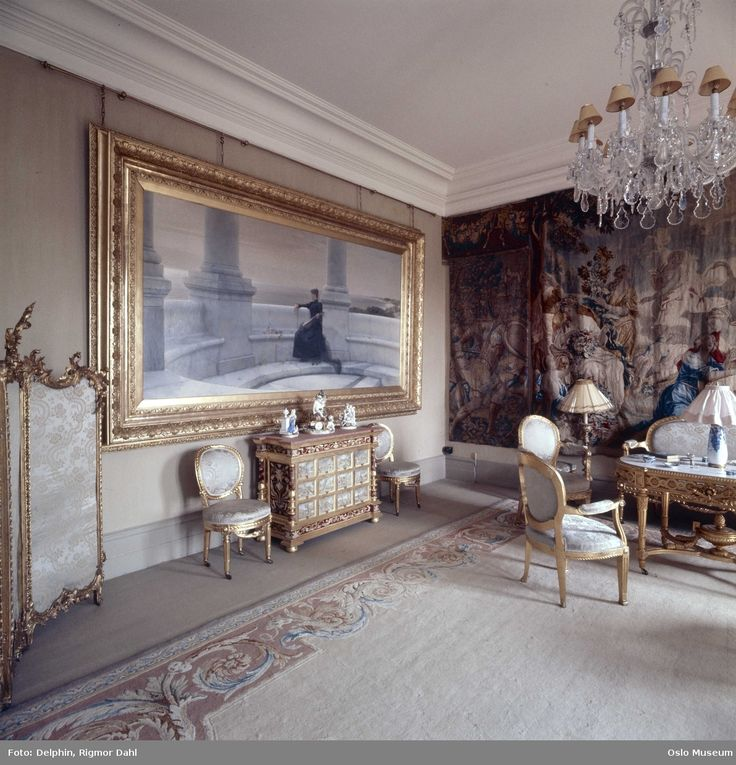 Fritzøehus slott, interiør, stue, salong @ DigitaltMuseum.no