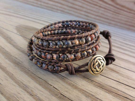 Triple Bracelet Wrap en cuir avec 4mm perles par GSJewelry sur Etsy