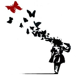Banksy – BUTTERFLY GIRL framed canvas art print 34cm x 34cm (13inch x 13inch) Ready to hang | Banksy Posters